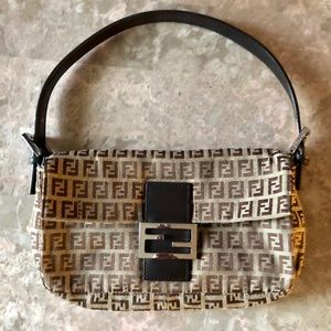 Authentic Fendi Zucchino Canvas Baguette